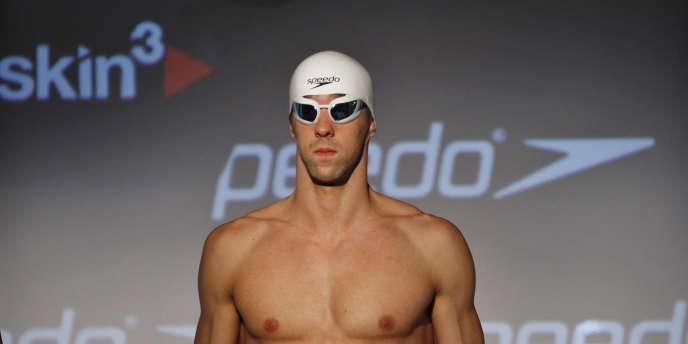 Le nageur américain Michael Phelps, lors de la présentation d'une nouvelle ligne de maillots de la marque américaine Speedo, à New York, en septembre 2011.