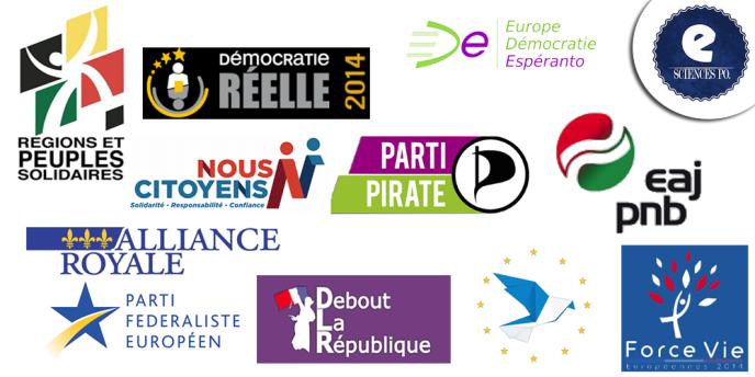 Les petits partis candidats aux élections européennes de 2014 en France.