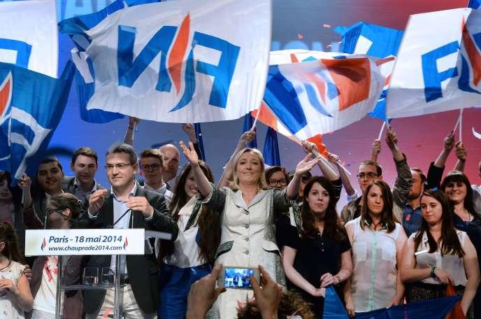 Meeting d'Aymeric Chauprade, candidat du FN aux européennes en Ile-de-France, avec Marine Le Pen, le 18 mai à Paris.