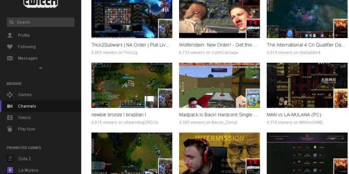 La page d'accueil de Twitch propose à l'internaute de visualiser les parties des jeux qu'il préfère.