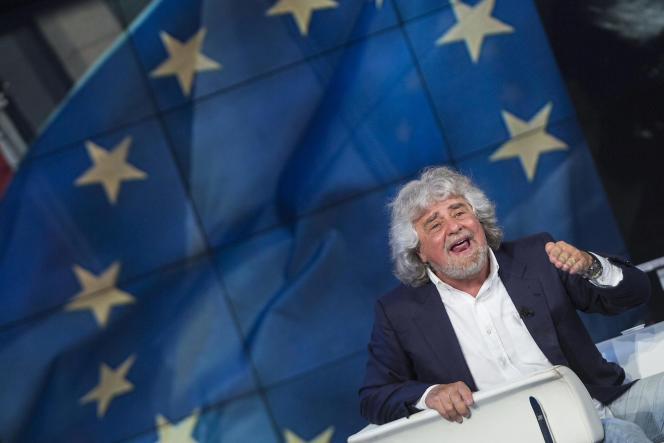 Beppe Grillo, du Mouvement 5 Etoiles, à la télévision italienne, le 19 mai 2014.