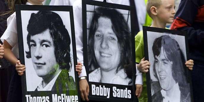 Portrait de Bobby Sands lors de la célébration à Glasgow du 20e anniversaire de la grève de la faim du combattant de l'IRA.