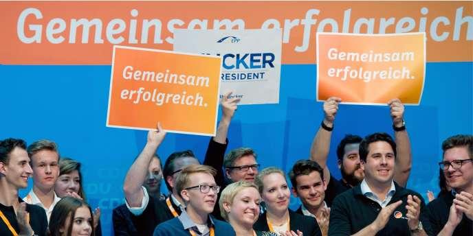 La CDU célèbre sa victoire le 25 mai à Berlin.