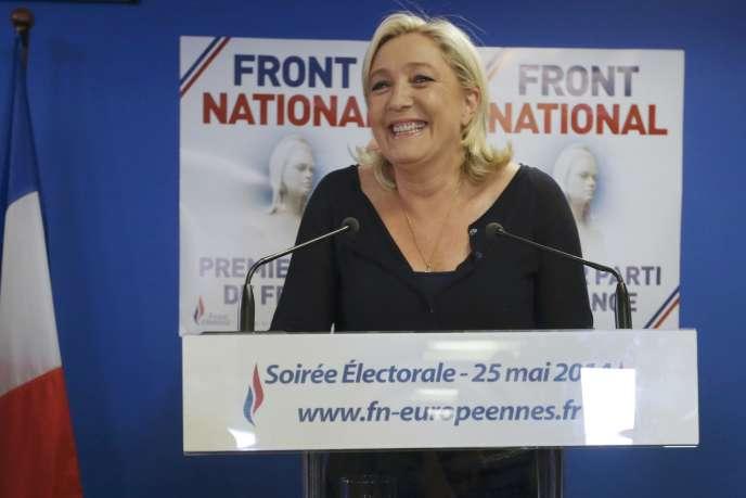 Marine Le Pen après l'annonce des résultats provisoires des européennes, le 25 mai.