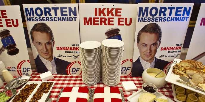 Un buffet en l'honneur du Parti du peuple danois, arrivé en tête du scrutin européen au Danemark.