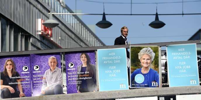 Des affiches du Parti pirate à Stockholm, le 25 mai.