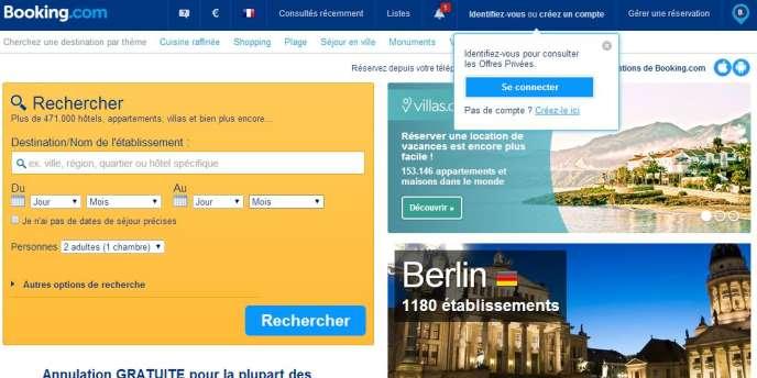 Capture d'écran de la page d'accueil du site de réservation hôtelière Booking.com.