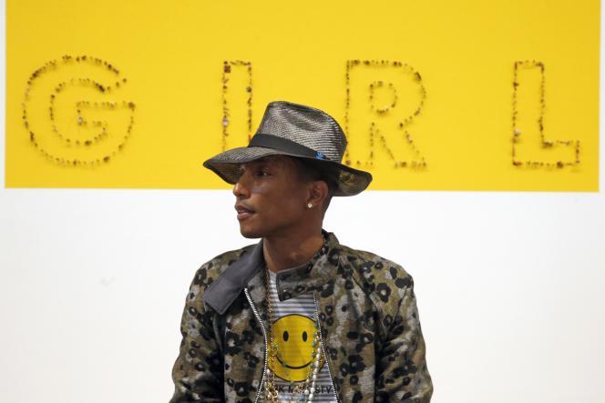 Pharrell Williams lors de la conférence de presse pour l'inauguration de l'exposition