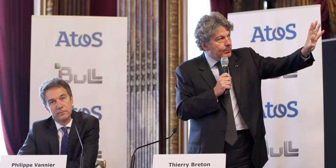 Thierry Breton, PDG d'Atos et Philippe Vannier, le nouveau PDG du groupe Bull, à Paris, le 26 mai.
