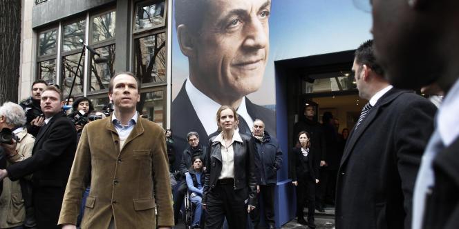 Le directeur de campagne de Nicolas Sarkozy pour la présidentielle de 2012, Guillaume Lambert, lors de l'inauguration du QG de campagne du candidat, le18février2012.