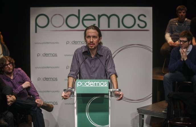 Pablo Iglesias, chef de file de Podemos, lors d'une présentation de son parti, en janvier.
