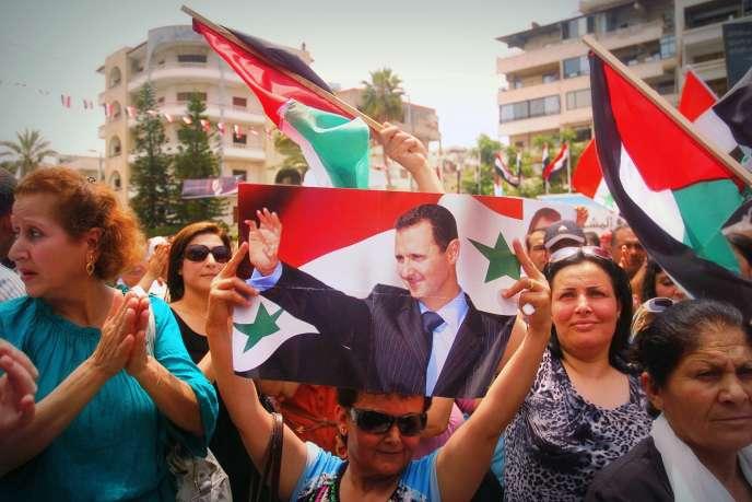 A Damas, le 27 mai 2014. Le scrutin présidentiel du 3 juin devrait offrir à Bachar Al-Assad son troisième mandat consécutif.