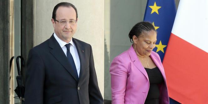 François Hollande et la garde des sceaux Christiane Taubira, à l'Elysée, le 24 avril 2013.