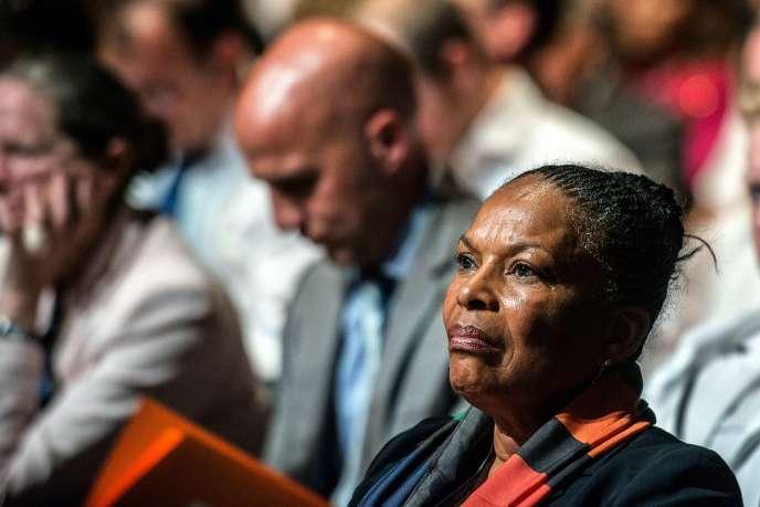 La ministre de la justice Christiane Taubira, lors d'un meeting du PS pour les européennes, à Lyon le 23 mai.