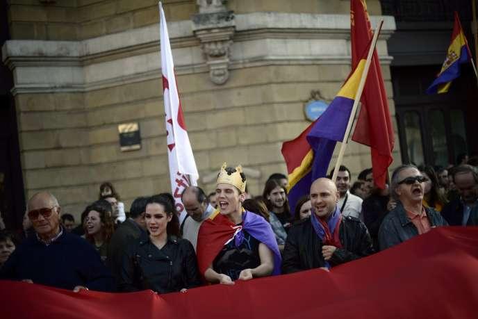 Manifestation antiroyaliste à Bilbao, lundi 2 juin 2014, au Pays basque, après l'annonce par le roi Juan Carlos de son abdication.