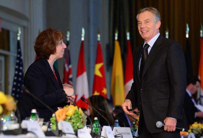 Tony Blair (à droite) avec Catherine Ashton, en septembre 2013 à New York.