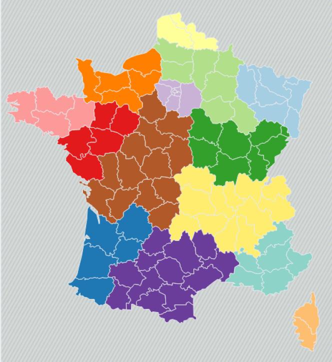 La future région Normandie (en orange)