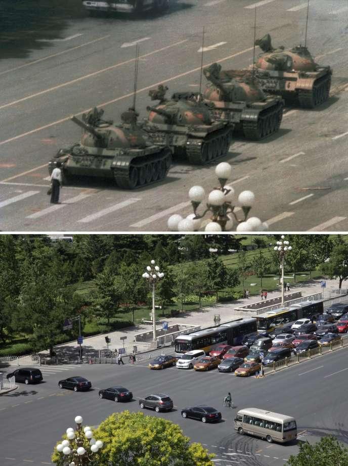 Comparaison de la place Tiananmen le 5 juin 1989, et le 27 mai 2014.