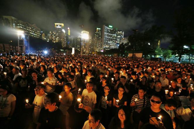 Commémoration des 25 ans du massacre de la place Tiananmen, à Hong Kong.
