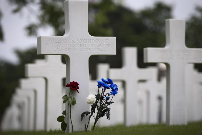 Au cimetière américain de Colleville-sur-mer (Calvados), le 2 juin.