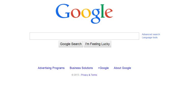 La page d'accueil américaine du moteur de recherche Google.