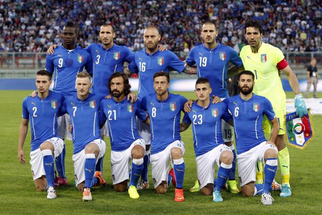 La Squadra Azzurra (de haut en bas et de gauche à droite) : Mario Balotelli, Giorgio Chiellini, Daniele De Rossi, Leonardo Bonucci, Gianluigi Buffo, Mattia De Sciglio, Ignazio Abate, Andrea Pirlo, Claudio Marchisio, Marco Verratti et Antonio Candreva.
