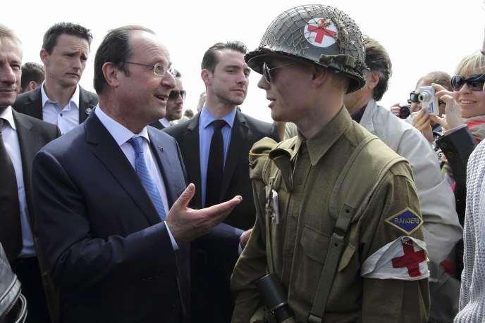 François Hollande à Arromanches (Calvados), le 1er juin.