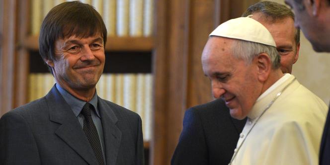 Nicolas Hulot et le pape François, au Vatican, le 24 janvier.