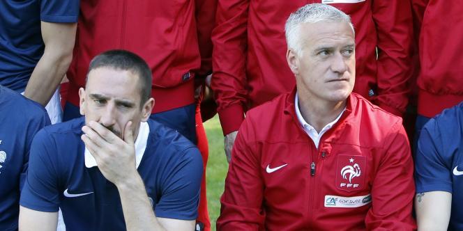 Franck Ribéry et Didier Deschamps, le 6 juin à Clairefontaine.