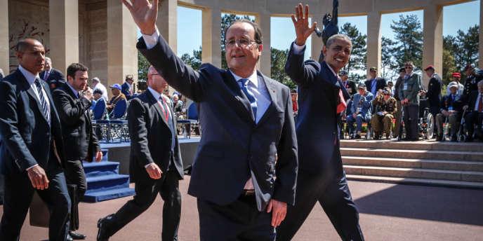 François Hollande et Barack Obama participent à la cérémonie de célébration du 70e anniversaire du débarquement au cimetière américain de Colleville.