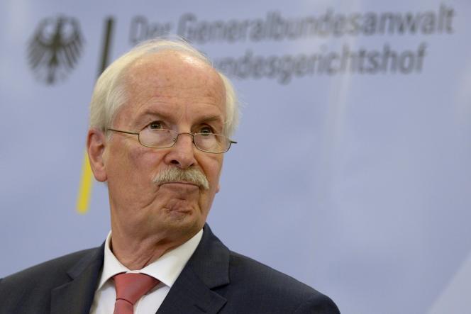 Le procureur fédéral allemand Harald Range annonce l'ouverture d'une enquête sur les écoutes dont a fait l'objet la chancelière Angela Merkel, le 4 juin à Karlsruhe.