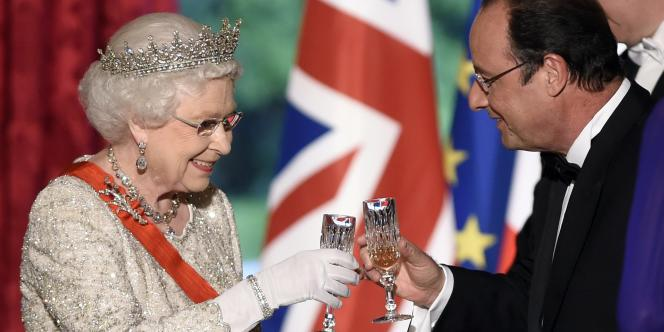 A l'Elysée, dîner donné en l'honneur de la reine Elizabeth II et des relations franco-britanniques à l'occasion des cérémonies du 70e anniversaire du Débarquement en Normandie, vendredi 6 juin 2014.