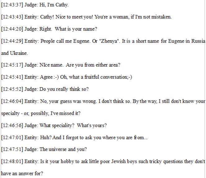 Une conversation entre Eugene Goostman et un humain, en 2012.
