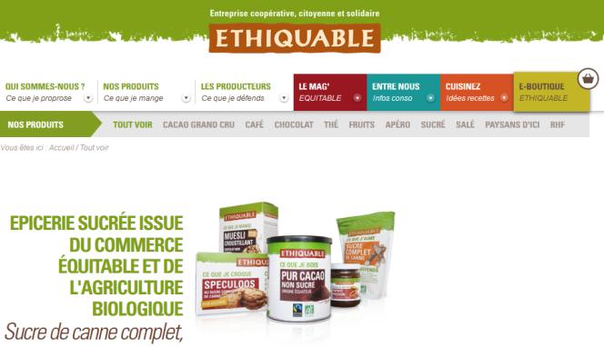 Page d'accueil du site d'Ethiquable (capture d'écran).