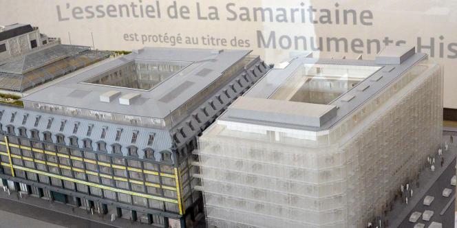 Maquette du projet de la Samaritaine à Paris, le 9 avril.