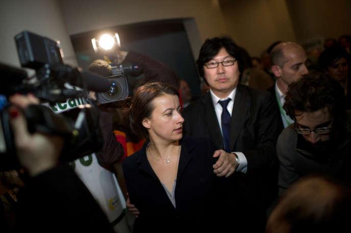 Cécile Duflot et Jean-Vincent Placé après un conseil fédéral d'Europe Ecologie-Les Verts en novembre 2011.