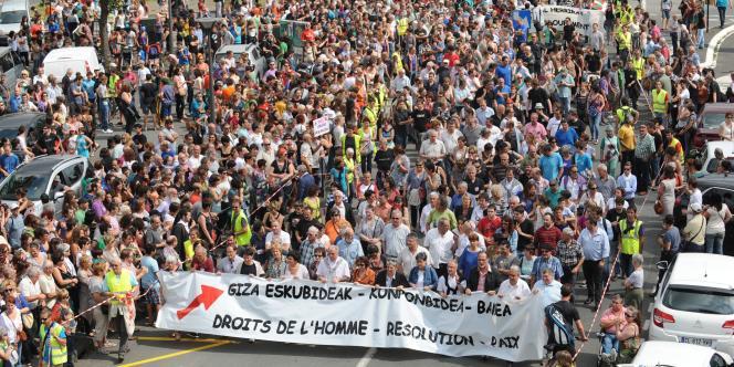 Manifestation pour la situation des prisonniers basques, le 14 juin à Bayonne.