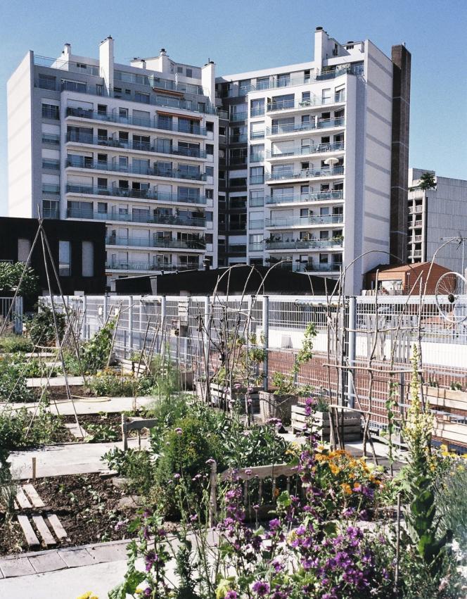 Le 20e arrondissement  de Paris compte 23 jardins collectifs, dont 18 partagés. Posé au dernier étage d'un gymnase de la rue des Haies, le Jardin sur le toit accueille riverains, écoliers et personnes  en réinsertion.