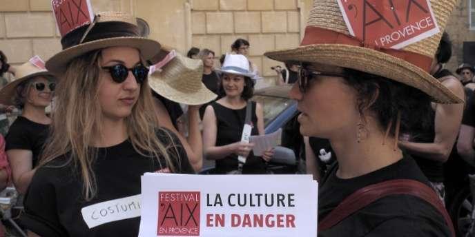 Manifestation d'intermittents du spectacle le 14 juin à Aix-en-Provence.