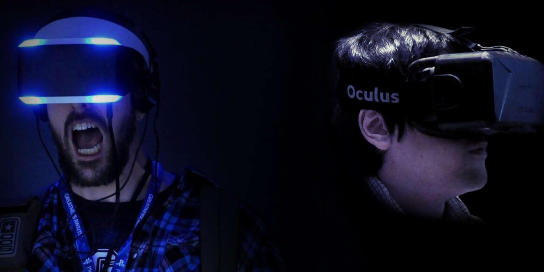 Deux joueurs essayent des casques de réalité virtuelle à l'E3 2014 de Los Angeles.