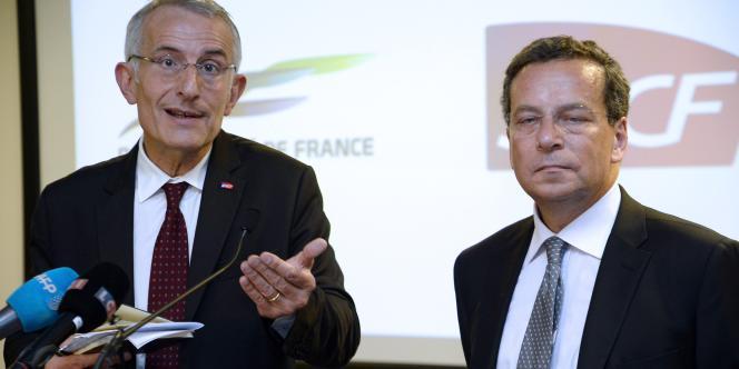 Les patrons de la SNCF et de Réseau ferré de France (RFF), Guillaume Pépy et Jacques Rapoport, le 21 mai à Paris.