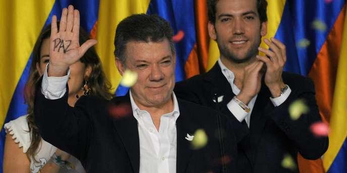 Juan Manuel Santos, après l'annonce de sa réélection à la tête de la Colombie, le15juin.