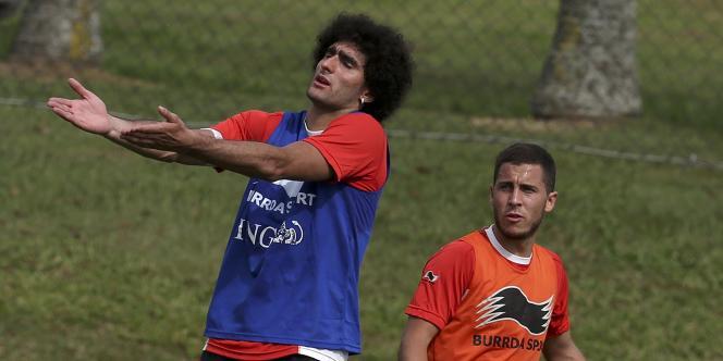 Les Belges Fellaini et Hazard, le 14 juin à Mogi das Cruzes.
