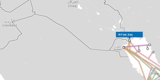 Al-Faw, près de Bassora, est le seul point d'accès de l'Irak au réseau de câbles sous-marins.