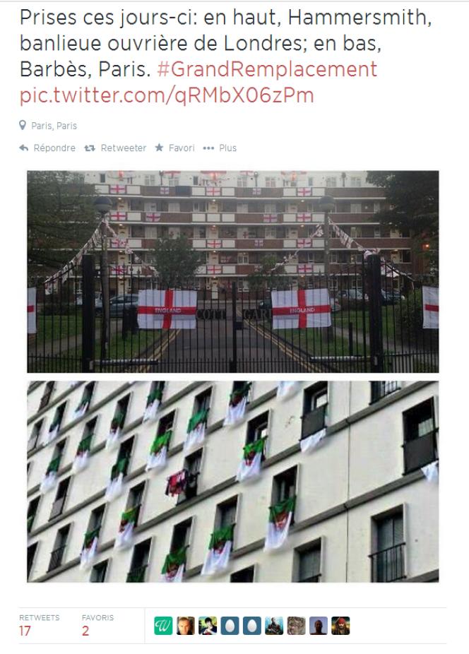 Même image, en bas, présentée comme prise à Paris, mais qui es en fait un immeuble algérien.