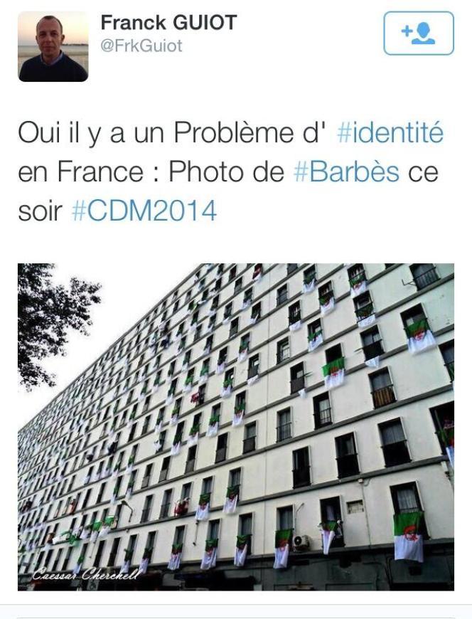 Tweet  publié en début de soirée mardi. L'immeuble est en fait situé à Alger, et non à Barbès.