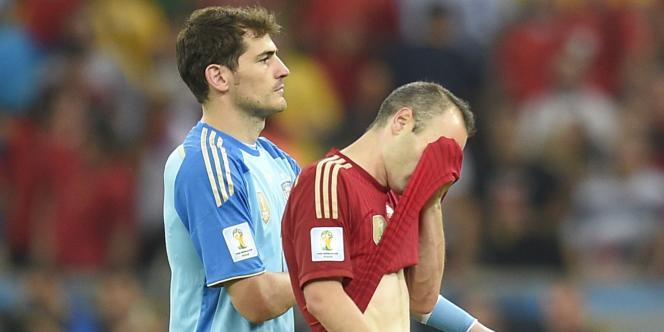 Iker Casillas et Andres Iniesta, le 18 juin à Rio.