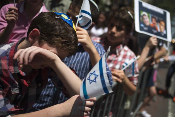 Lors d'une manifestation de solidarité avec les adolescents israéliens enlevés, le 16 juin à Manhattan, devant le consulat de l'Etat juif.