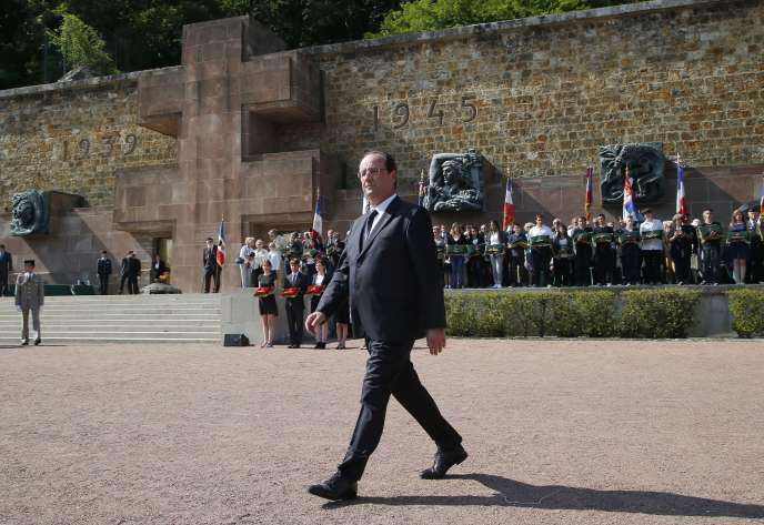 François Hollande au mont Valérien (Hauts-de-Seine), le 18 juin, à l'occasion du 74e anniversaire de l'appel du général de Gaulle.