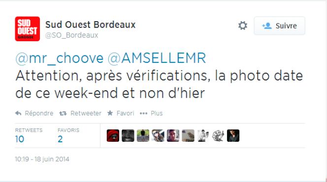 Réponse à la fausse image par les journalistes de Sud Ouest Bordeaux.